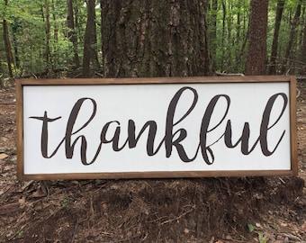 Wood Thankful Sign