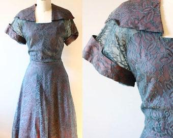 1950s irridescent lace dress // 1950s lace dress // vintage dress