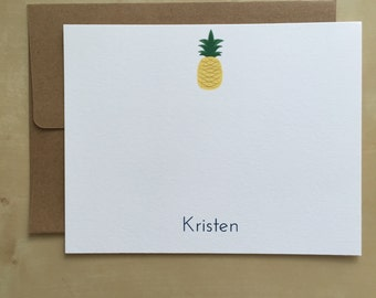 20 Personalized Pineapple Notecards with Kraft Envelopes (Free Shipping!)