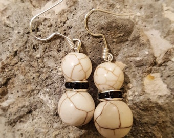 White earrings / drop earrings / black earrings / handmade / gift