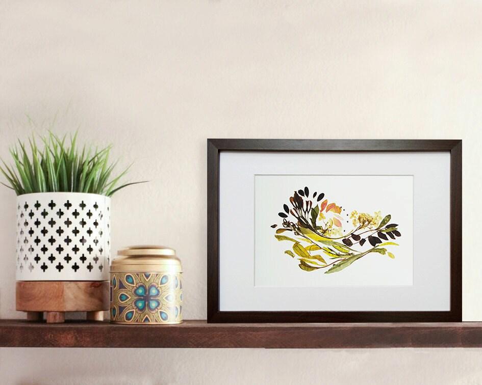 Arte Botánico enmarcado flores prensadas impresión de