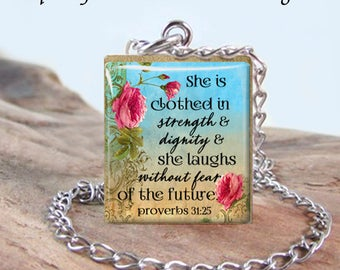 """Bible Verse Stainless Scrabble - """"She is Clothed in Strength and Dignity """" 2 - Proverbs 31:25 - Choose Letter, Pendant or Necklace - Faith"""