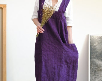 Linen pinafore apron, linen pinafore with pockets,  square cross linen apron, linen apron dress for women