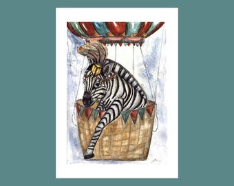 Zebra circus print, Zebra print, circus print, circus painting, zebras paintings
