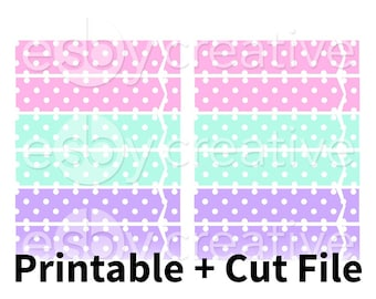 Pastel Polka Dots - Header Covers Printable Planner Stickers for Erin Condren Horizontal + Cut File - HK-028 - INSTANT DOWNLOAD