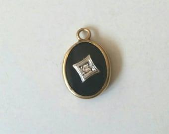 Art deco onyx and diamond charm | onyx pendant