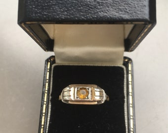 1920's gold and citrine ring