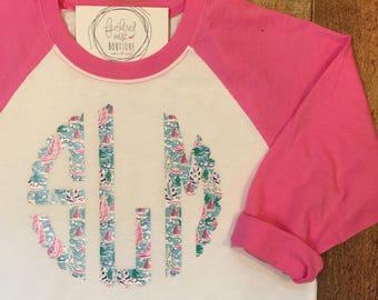 Youth Print Monogram Raglan Shirt - Plaid Monogrammed Raglan Tee - Monogrammed Children's Baseball Tshirt - Patterned Monogram Raglan