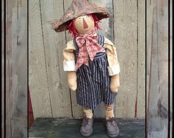 SALE mailed paper pattern Primitive folk art Standing Americana Doll HAFAIR OFG faap 346