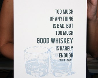 Letterpress Poster Art Print - Whiskey