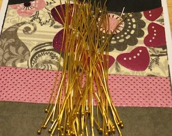 Long Ball Headpins - 100  pcs. - 3-1/2 inch - 21 gauge -  90mm Ball Headpins - Lead Free - Cadmium Free Gold Plated Brass Ball Headpins