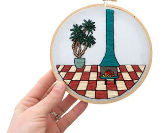 Out of Retirement! Contemporary Embroidery PDF by Sarah K. Benning - #SKBDIY Monthly Pattern Program: Single Month PDF Download - Fireplace