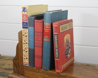 Vintage Book Collection Red Blue Shades Black Font 1940 to 1947 Matching Assortment Group Display Prop Hardback Decorating Old Library