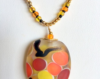 FLAMING FOOLS Spots of Color Necklace (Handcrafted)