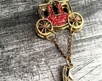 Carriage Charm Fairy Tale Pendant Antiqued Gold Pendant Slipper Charm Dangle Charm Red Rhinestones Fairy Tale Charm 2.5""