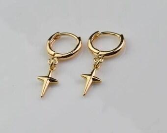 gold hoop earring tiny cross hoops endless hoop huggie dangle earring simple earrings everyday/gift for her