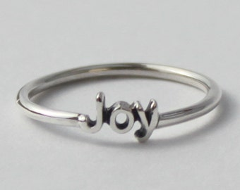Joy word Intention ring, 925 Sterling silver with poetic, Inspirational word
