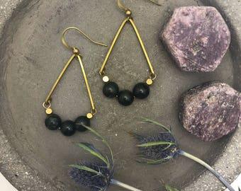 Rose Valley Dangles ~ Dark Green Jasper & Brass Cube beads Teardrop Geometric Earrings Unique Gift Handmade in Philadelphia