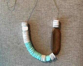 white + mint + wooden bead