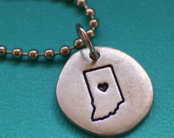 State Love Necklace - Indiana - Hand Stamped Jewelry - United States of America Necklace - Custom State Jewelry