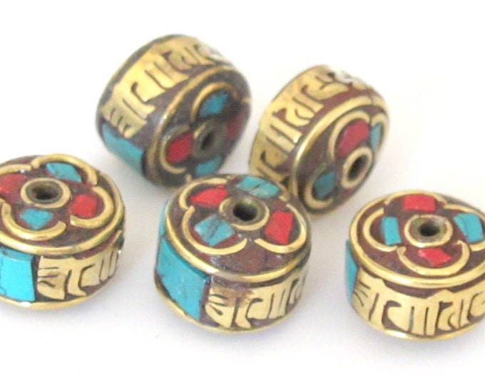 2 Beads - Tibetan beads Om mantra inscribed brass bead with turquoise coral inlay -Nepal beads supplies  - BD390