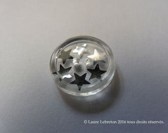 Button silver - stars is hand-fashion-Scrapbooking - Sewing