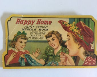Vintage, Happy Home, Needle Book, Assorted Needles, Silver Eye Needles, Threader, Sewing Needle, Vintage Sewing Notion, Quilt, Advertising