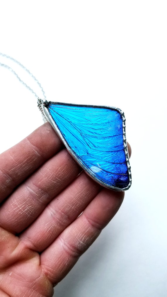 Real Blue Morpho Portis Butterfly Wing Necklace- Butterfly Jewelry