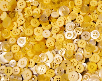 1000 Yellow Buttons, Small Yellow Button  Mix, Grab Bag, Crafting, Button Art  (1520 ab)