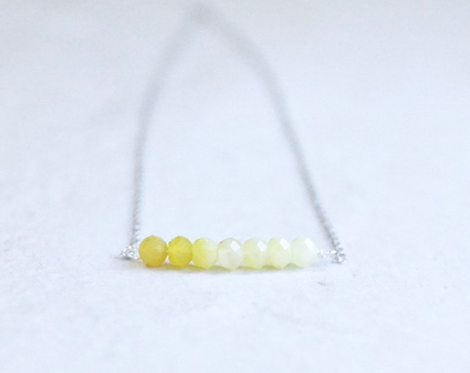 14k solid gold : Yellow opal ombre beaded necklace