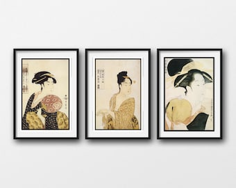 3 Piece Wall Art - VINTAGE JAPANESE PRINTS -Matted And Framed - Choose Black Or Antique White Frames - Available In 4 Sizes