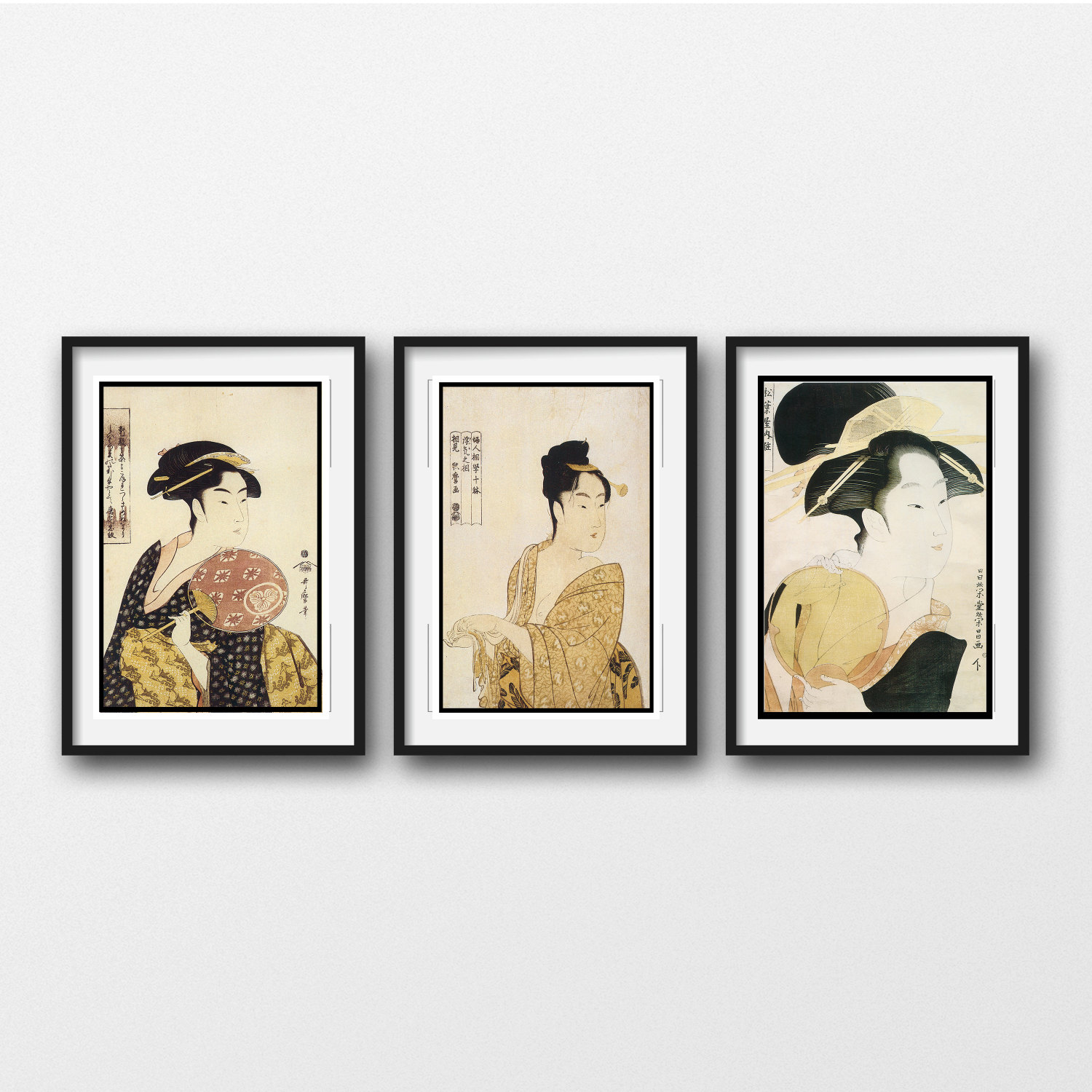 Famous 3 Piece Wall Art - VINTAGE JAPANESE PRINTS -Matted And Framed  PS61