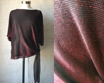 Red metallic top one size, 80's glitter top, oversized top, loose cut top, transparent sheer top, 80's fashion, black red glitter top