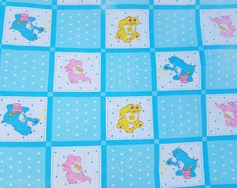 Vintage 1983 Care Bear Fabric Blue, Yellow, Pink, by Springs Ind. Inc. MCMLXXXIII American Greetings Corp,