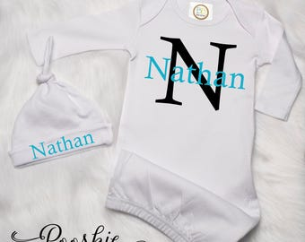 Baby Boy Going Home Outfit, Custom Baby Boy Gown, Hospital Outfit for Baby Boy, Personalized Outfit, Baby Shower Gift for Boy, Boy Gown P6