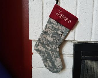 Military Uniform Stocking, Personalized Christmas Stocking, made with your uniform, Memory Stocking, Lined stocking, fleece cuff Sew4MyLoves