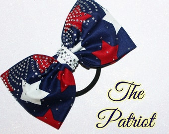 The Patriot - Gorgeous New Sewn Rhinestone Patriotic Boutique Bow by Funbows