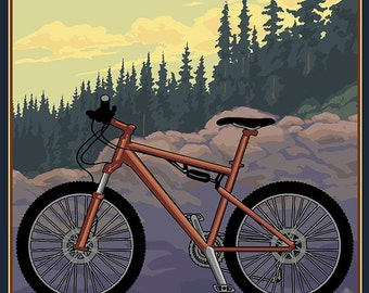 Corvallis, Oregon - Bicycle Ride the Trails (Art Prints available in multiple sizes)