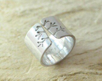 High-quality Alloy Ring,Metalwork Jewelry,Autumn Tree Ring,Wide Band Ring