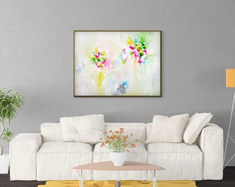 Abstract Floral Painting, White Painting, Pink, Mint, Green, Yellow, Abstract Art Print, Floral Canvas Art, Large Canvas Print, Giclee Print