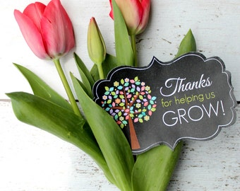 Thanks for helping US grow - Teacher Appreciation card DIY Printable download