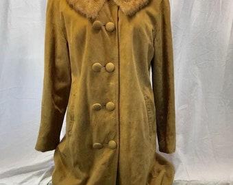 Vintage Lang's Leather & Fur Long Evening Coat