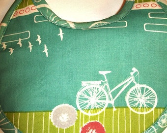 Organic Baby Bib - Bicycle - Commute - Blue - Green - Can be Personalized with a Name