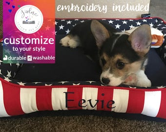 Patriotic Dog Bed or Cat Bed | Red, White and Blue Stars and Stripes | Custom Dog Bed with Your Choice of Fabrics