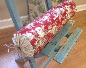 Custom Neckroll/Tootsie Roll Pillow Cover with Drawstrings -  choose your own fabrics and size