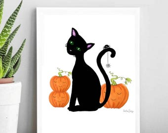Halloween pumpkin clipart, pumpkin clipart, Halloween clipart, Halloween cat clipart, cat clipart, fall clipart, black cat print, png file