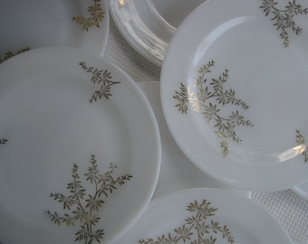 Vintage Federal Glass Golden Glory Milk Glass Dinner Dishes set of 4