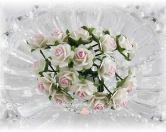 Miniature Roses~Pink Kiss~ Set of 20 for Scrapbooking, Cardmaking, Altered Art, Wedding, Mini Album