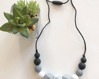 Silicone Teething Necklace Jewelry / Modern Geometric Marble Grit