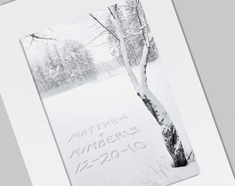 Winter Tree  Unique Valentines Day, Wedding, Anniversary Personalized FRAMABLE Photo Folded Card with Envelope,   Quality Print, Gift of Art